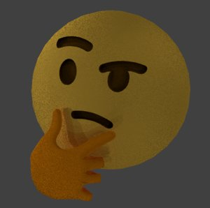 3D emoji thinking