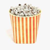 3D popcorn cup model