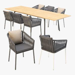 kettal bitta dining armchair table model