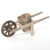wooden wheelbarrow 3D