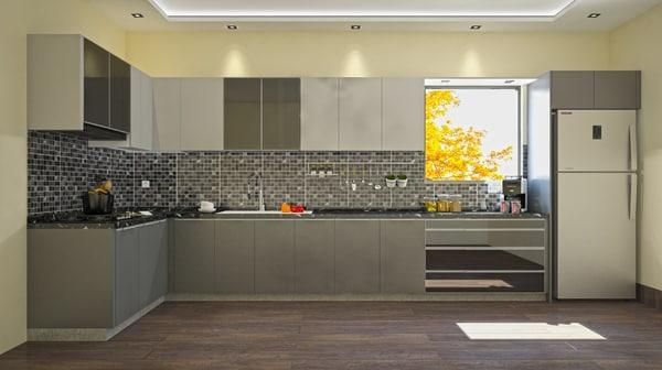 3D modern grey kitchen model
