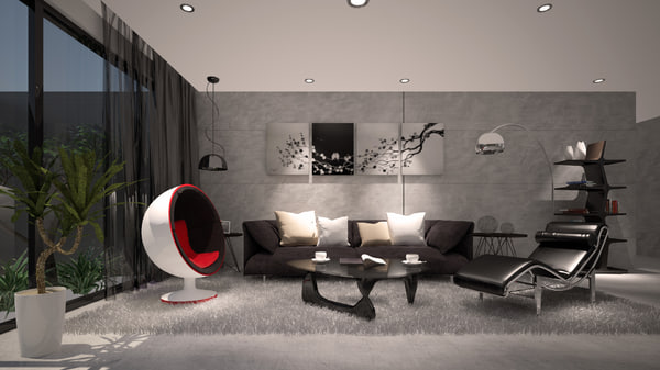 3D model concrete living room