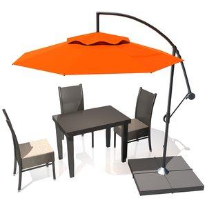 outdoor patio cantilever umbrella 3D model