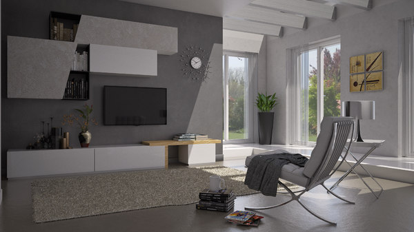 3D model luminous modern living room