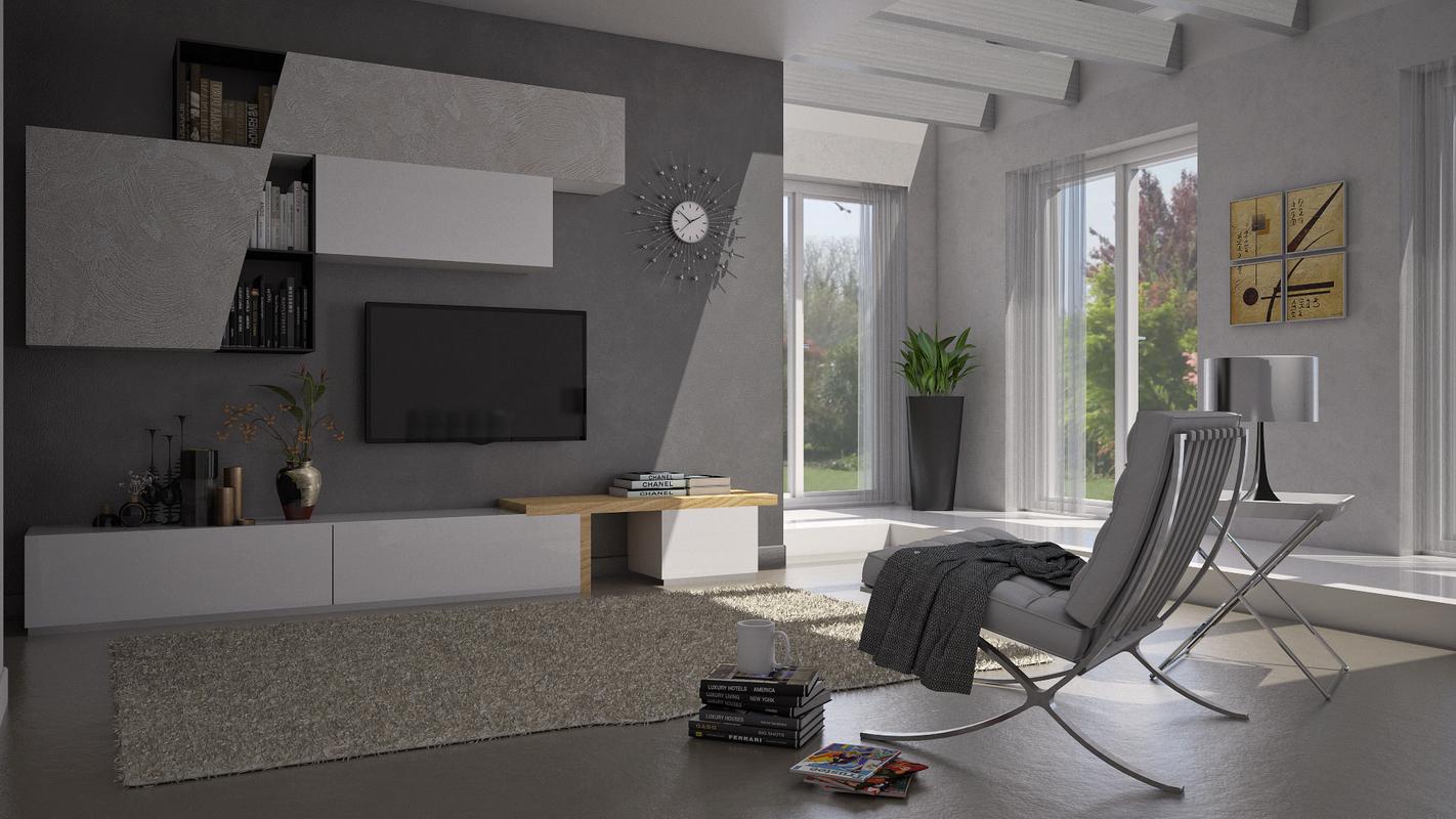 3D model luminous modern living room