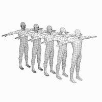 3D model mesh male body t-pose