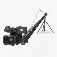 Camera Crane with Full HD Camcorder Panasonic HC X1000 Rigged