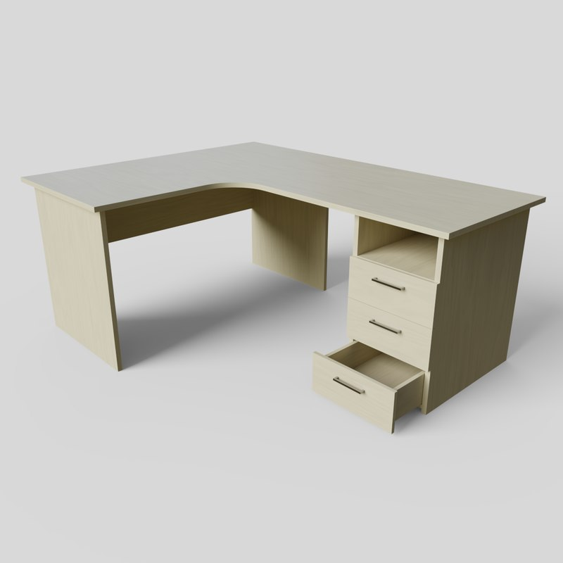 3D corner office desk ready