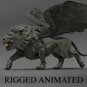 3D winged lion
