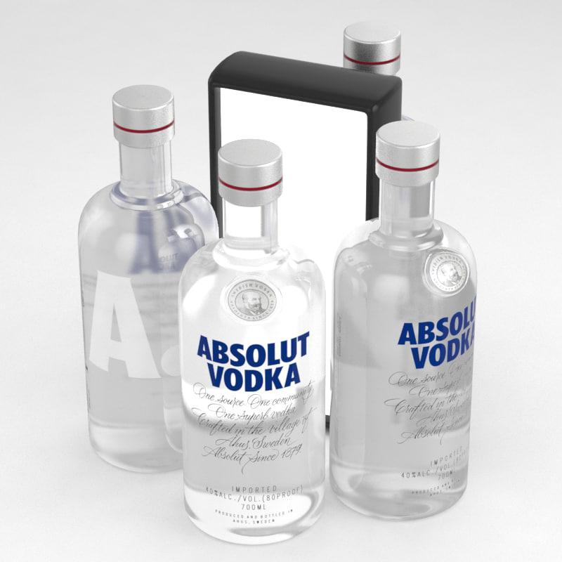 bottle vodka absolut 3D model