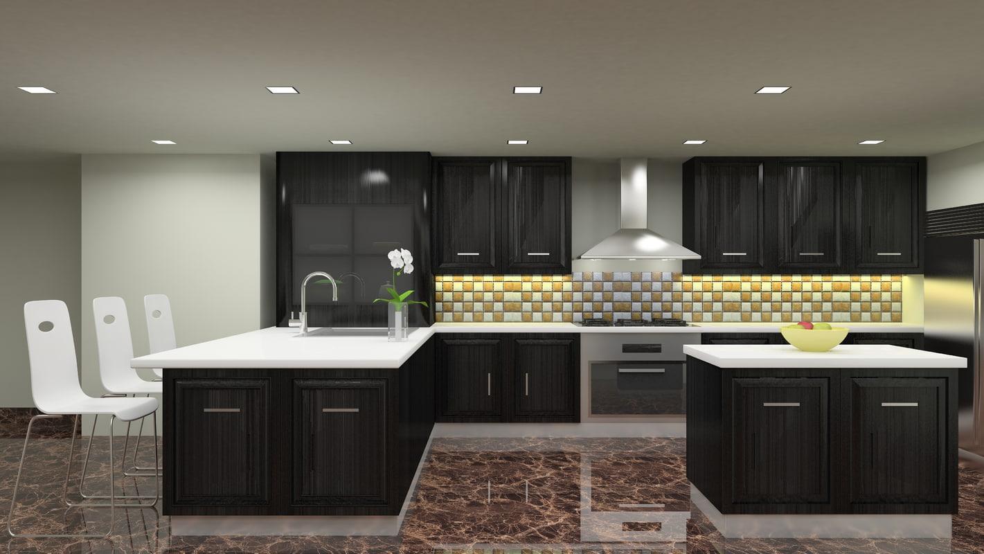 modular kitchen 3D
