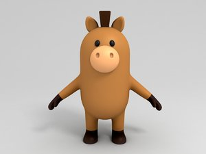 3D horse character cartoon