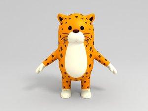 leopard character cartoon 3D model