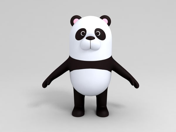 3D panda character cartoon model