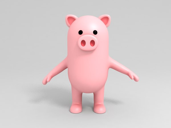 pig character cartoon model