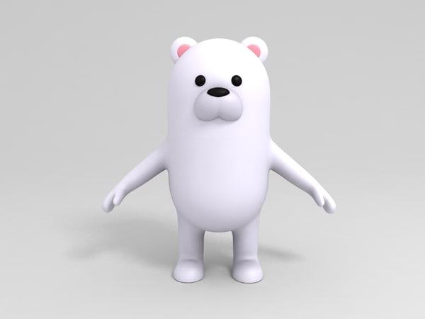 polar bear character cartoon 3D model
