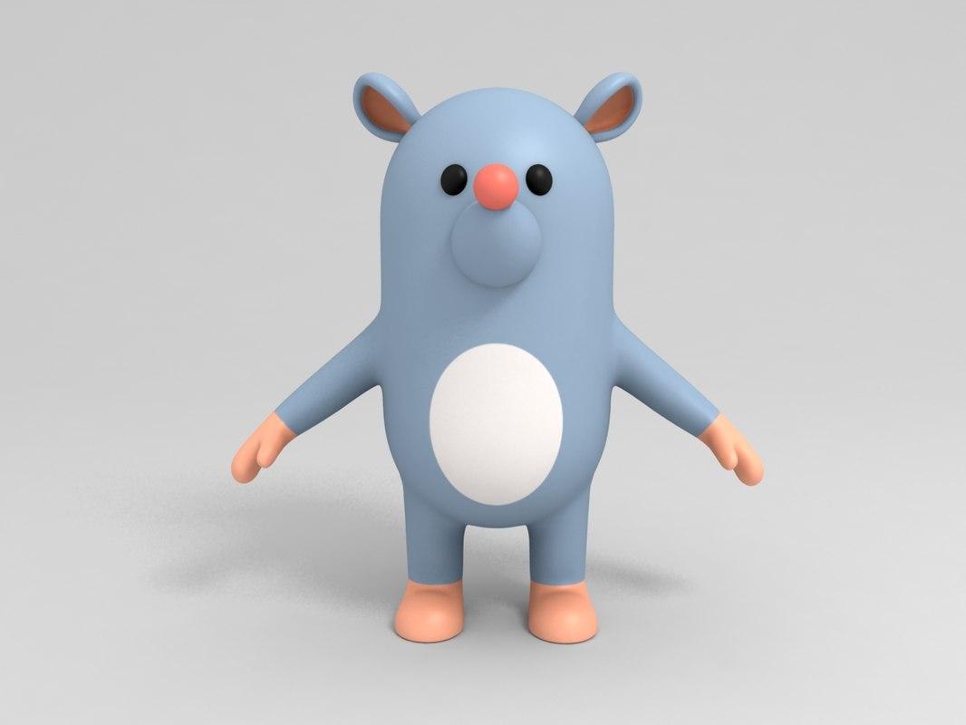 3D rat character cartoon model