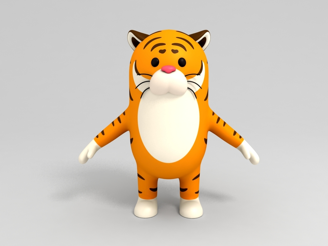 tiger character cartoon 3D