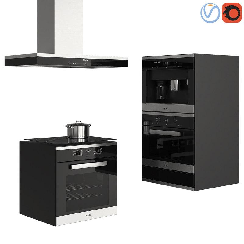 3D set kitchen appliances miele