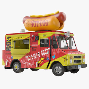 hot dog truck rigged 3D model