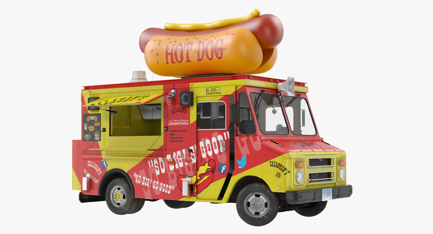 hot dog truck rigged 3D model