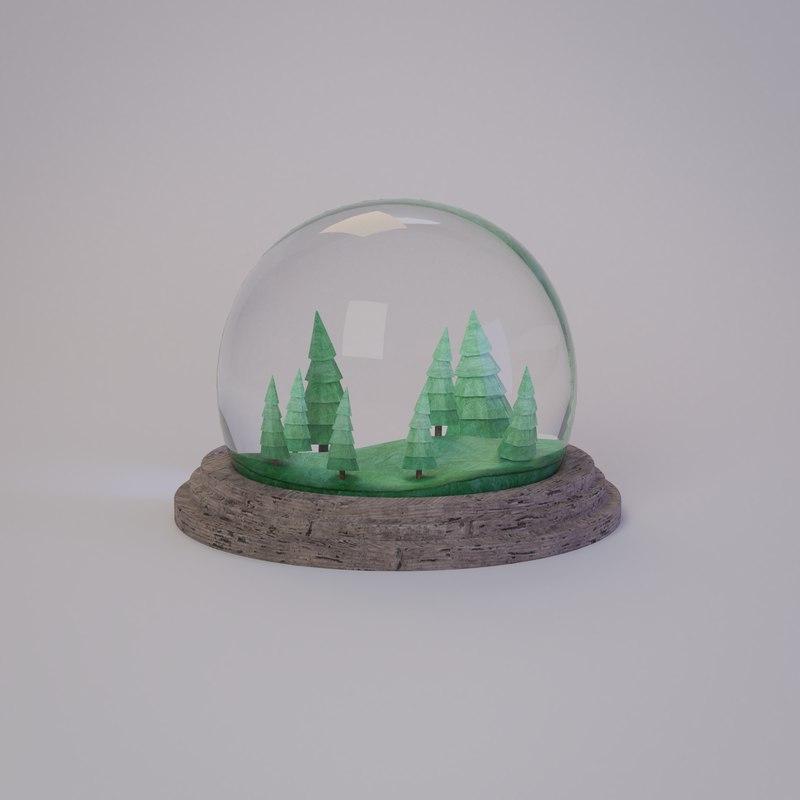 3D stylized snow globe