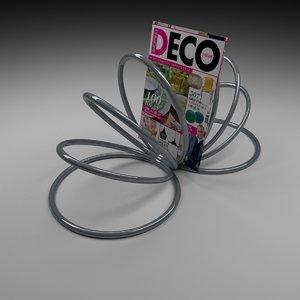 steel magazine rack 3D model
