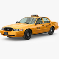 3D cab taxi yellow model
