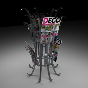 3D steel magazine rack
