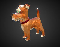 cartoon dog art farm animal 3D model