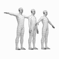 Male Body Base Mesh in 3 Poses with Detailed Head and Limbs