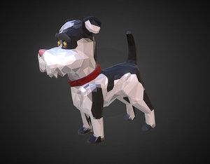cartoon black dog art 3D model