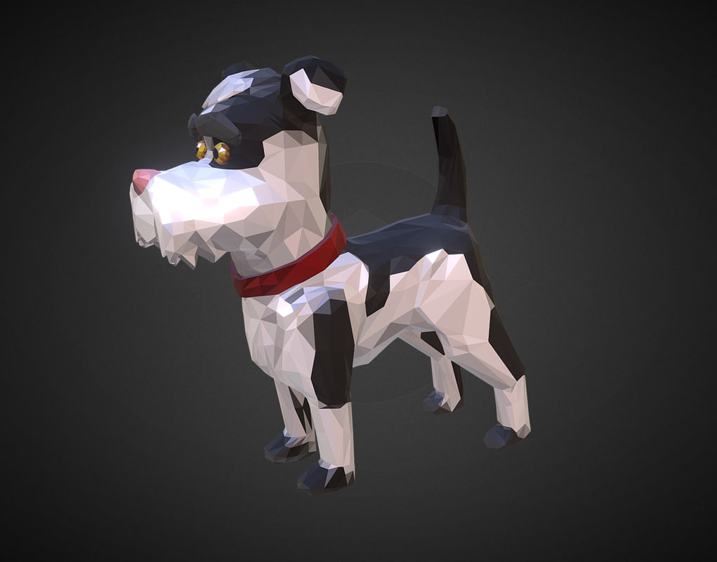 cartoon black dog art 3D model