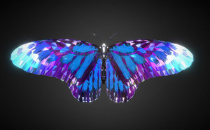 3D batterfly blue art insect