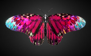 batterfly pink art insect 3D model