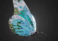 3D model batterfly teal art insect