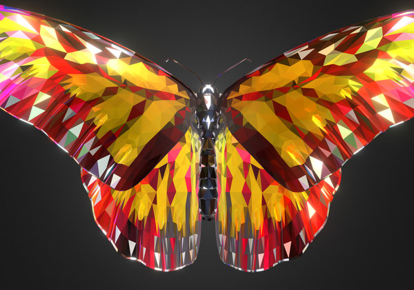 batterfly yellow art insect 3D