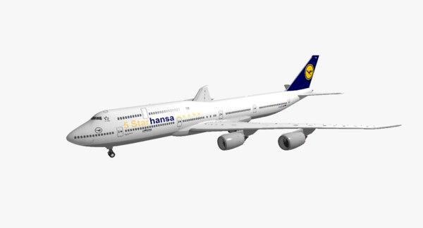 3D model boeing 747-8i lufthansa 5