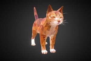 3D cat ginger art farm animal