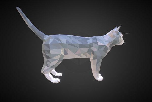 3D cat white art farm animal