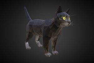 cat black art farm animal 3D
