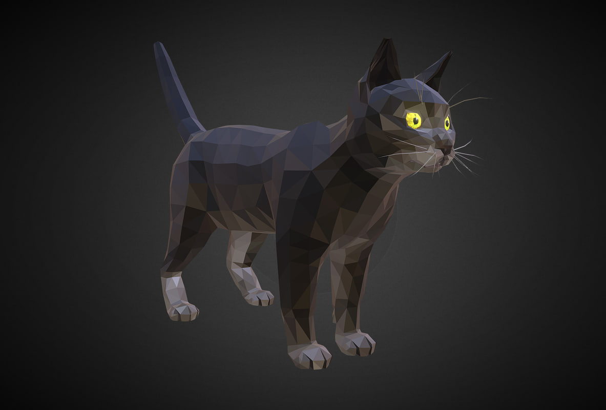 cat black art farm animal 3D
