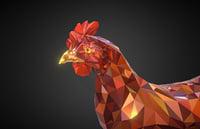 christmas chicken redhead art 3D model