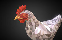 Chicken White Low Polygon Art Bird VR / AR / low-poly 3D model