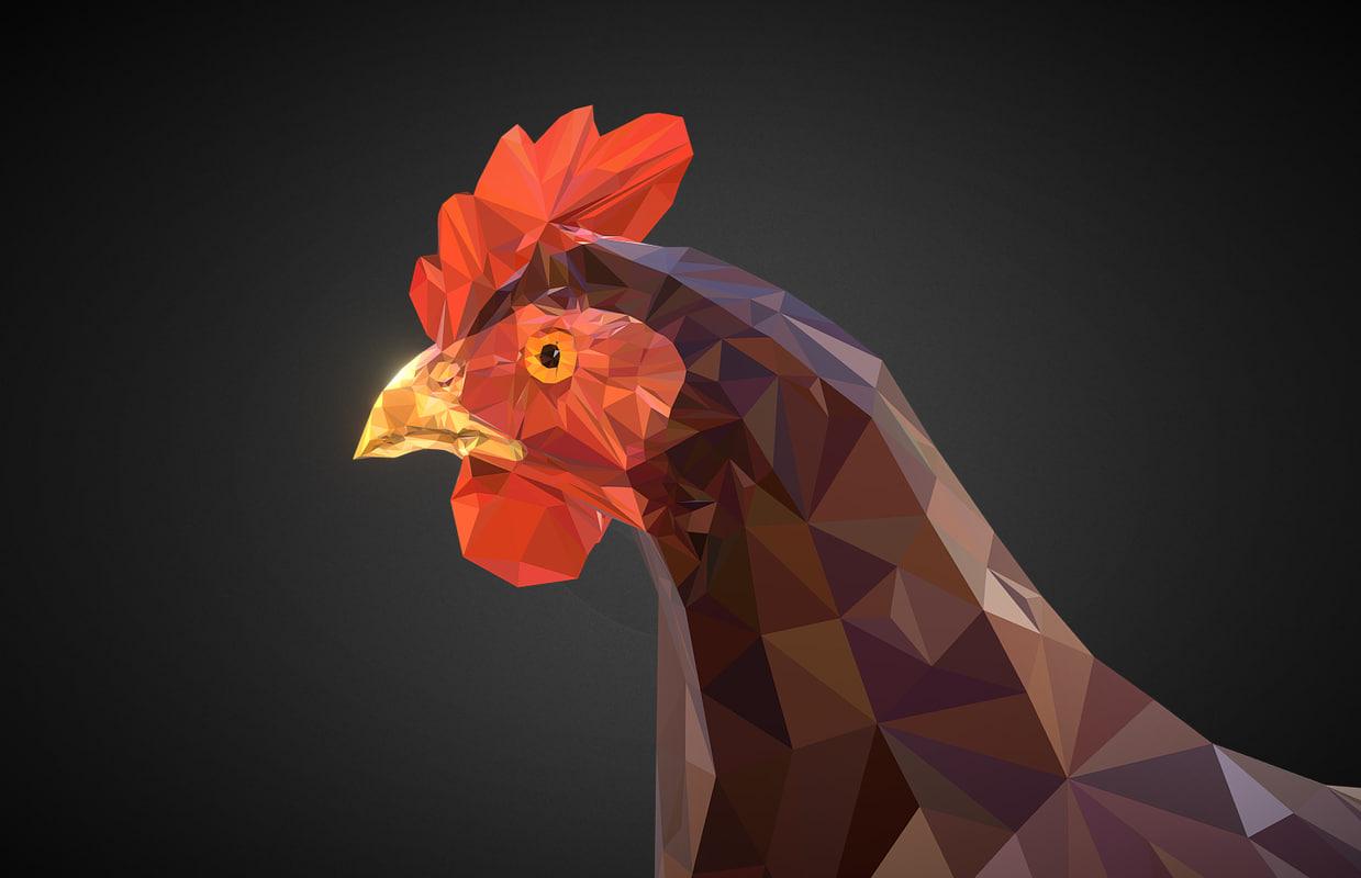 3D model chicken brown art bird