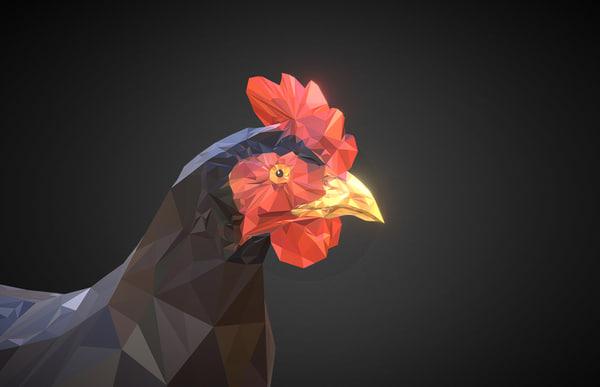 chicken black art bird 3D model