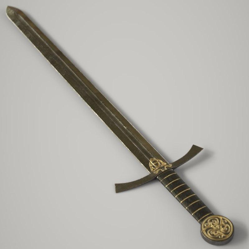 steel longsword sword 3D