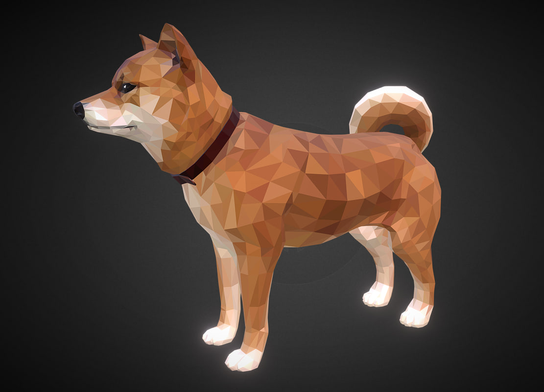 3D model dog redhead art low-poly