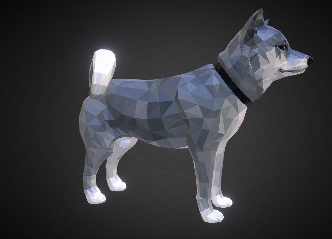 3D dog grey art low-poly