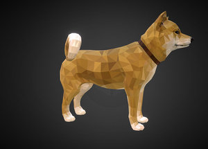 dog yellow art low-poly 3D model